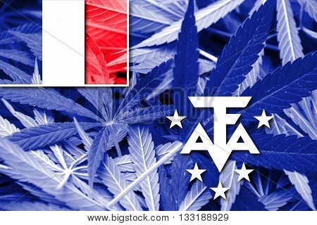 Flag Of The French Southern And Antarctic Lands, On Cannabis Background