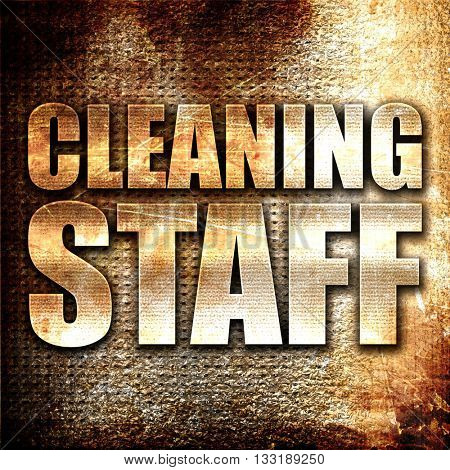 cleaning staff, 3D rendering, metal text on rust background