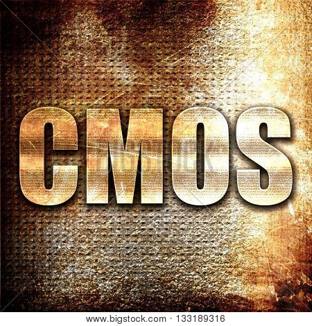cmos, 3D rendering, metal text on rust background