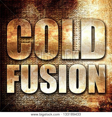 cold fusion, 3D rendering, metal text on rust background
