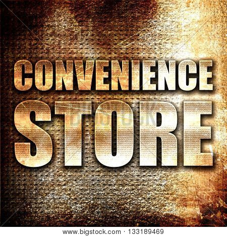 convenience store, 3D rendering, metal text on rust background