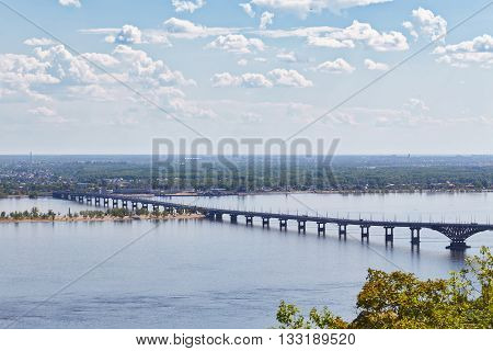 View of Volga River and automobile bridge from observation deck