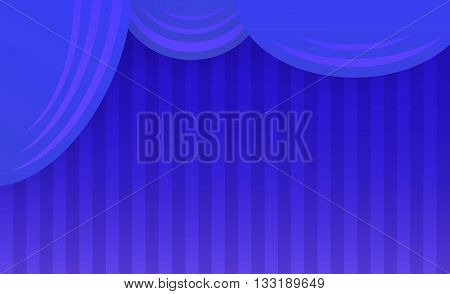 Abstract theater stage with blue curtain. Vector illustration