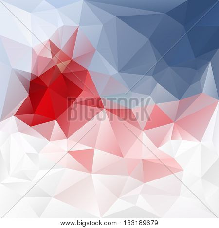 vector abstract irregular polygon background with a triangular pattern in red blue and white colors