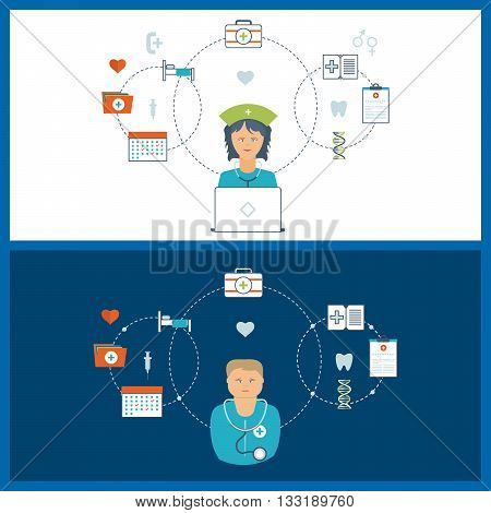 Vector illustration concept for healthcare, medical help and research. Online medical diagnosis and treatment. Medical first aid. Healthcare worker.