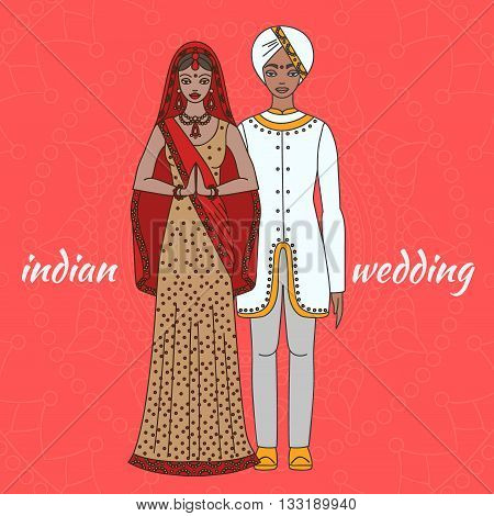 South Asia bride and groom, wedding ceremony. Indian traditional celebration, love couple, hinduism costume outline, vector
