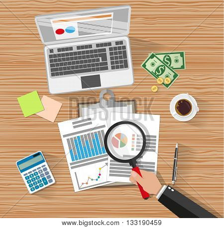 Auditor with magnifying glass at table during analysis of financial report. Financial audit concept. Auditing tax process. laptop, calculator, coffee, cash money. vector illustration in flat style