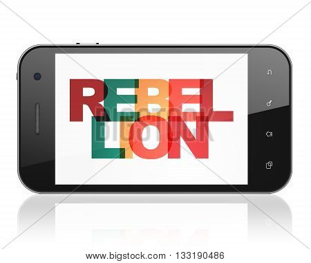 Political concept: Smartphone with Painted multicolor text Rebellion on display, 3D rendering