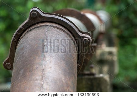 Large metal pipes transporting oil through a forest. Environmental conservation concept.
