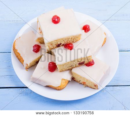 Square Cake With Cherry