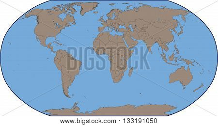 Illustration of a Empty Political World Map