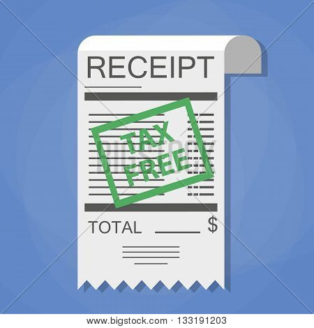 Receipt with green tax free stamp. Tax refund. Exchange a check for the money, illustration in flat style on blue background