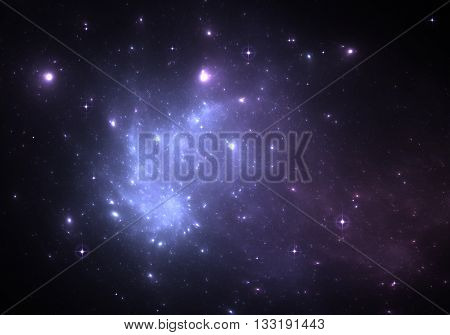 Space background with blue nebula and stars. Illustration