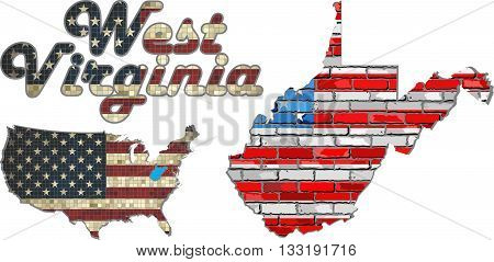 USA state of West Virginia on a brick wall - Illustration, The flag of the state of West Virginia on brick textured background,  Font with the United States flag,  West Virginia map on a brick wall