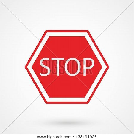 Stop Sign Icon In A Simple Style