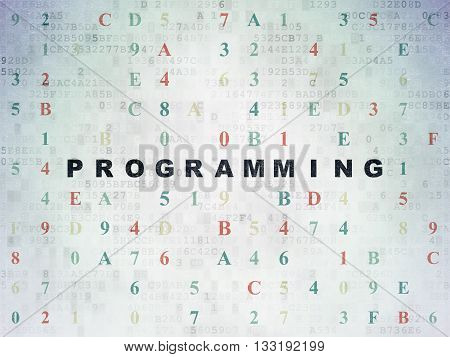 Software concept: Painted black text Programming on Digital Data Paper background with Hexadecimal Code