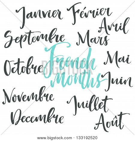 Handwritten calligraphy print. From French translated as all months of the year from January to December. Isolated letters on white background.