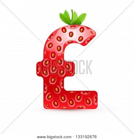 Pound symbol in strawberry style with green leaves