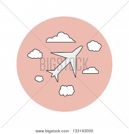 Wedding vector flat icon of airplane and clouds, honeymoon
