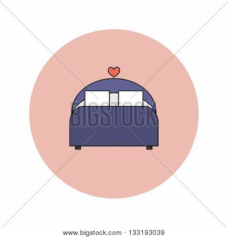 Wedding vector flat icon of comfortable bed, wedding night