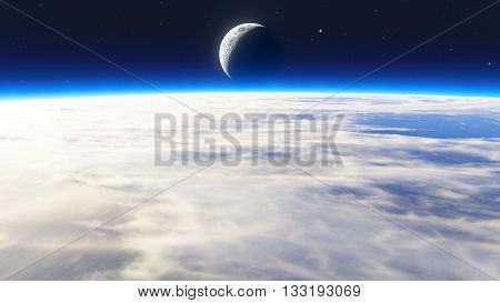 Earth sunrise with clouds moon and stars
