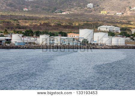 White Oil Tanks on Tropical Coast of St Kitts