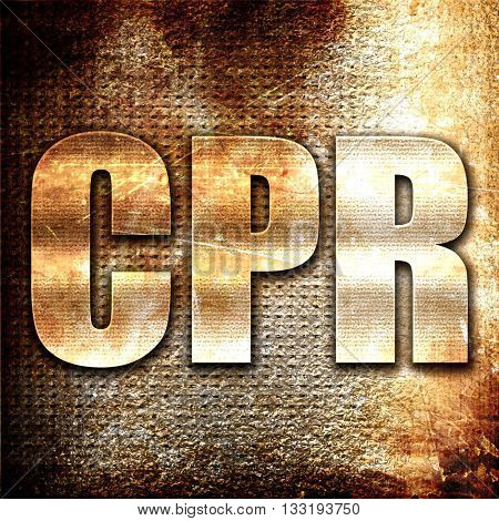 cpr, 3D rendering, metal text on rust background