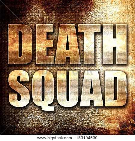 death squad, 3D rendering, metal text on rust background