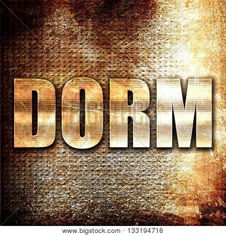 dorm, 3D rendering, metal text on rust background