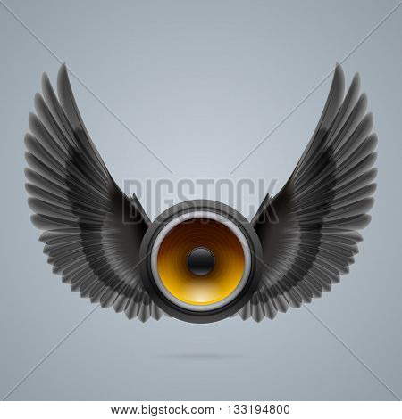 Music speaker with two raised black wings.