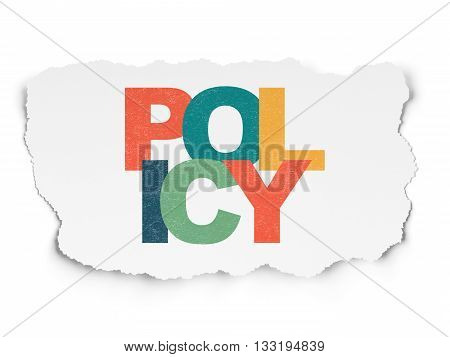 Insurance concept: Painted multicolor text Policy on Torn Paper background