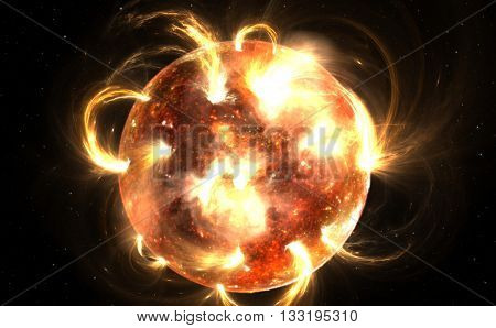 Sun with corona. Solar storm or solar flares. Illustration