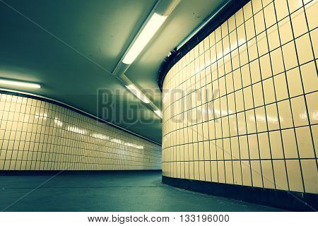 Underground passage from subway. Narrow exit to the city.