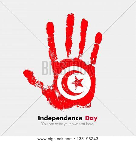 Hand print, which bears the Flag of Tunisia. Independence Day. Grunge style. Grungy hand print with the flag. Hand print and five fingers. Used as an icon, card, greeting, printed materials.