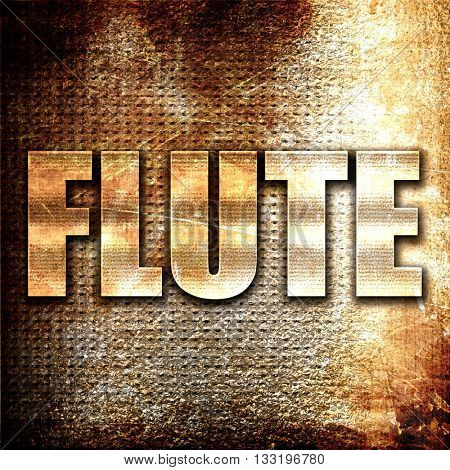 flute, 3D rendering, metal text on rust background