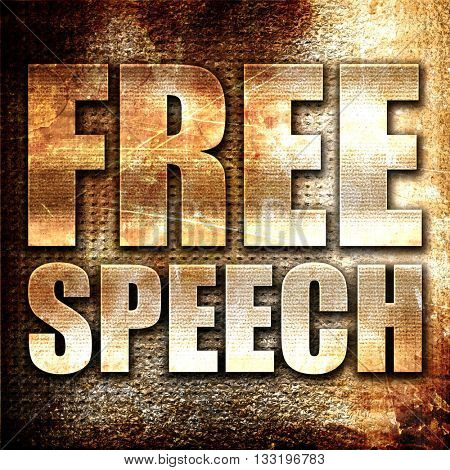 free speech, 3D rendering, metal text on rust background