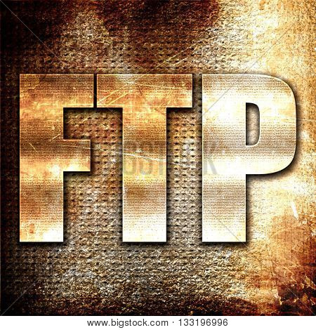 ftp, 3D rendering, metal text on rust background