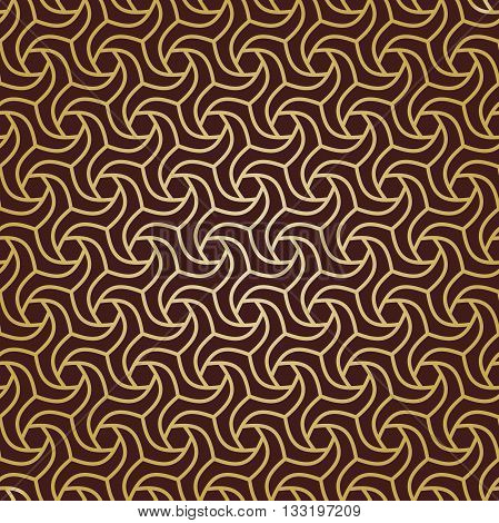 Seamless geometric pattern by stripes. Modern vector background with repeating lines. Seamless geometric background. Brown and golden pattern