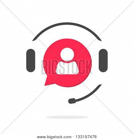 Customer support vecot icon isolated on white, phone assistant with headphones logo