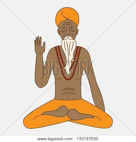 yoga meditating sadhu, logo asia hinduism monk, india religious guru man character