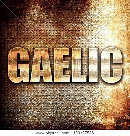 gaelic, 3D rendering, metal text on rust background