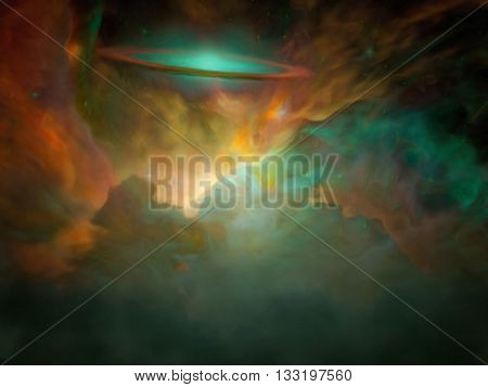 Galactic Scene filled with nebulous gasses 3D Render Elements of this image furnished by NASA