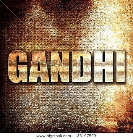 gandhi, 3D rendering, metal text on rust background