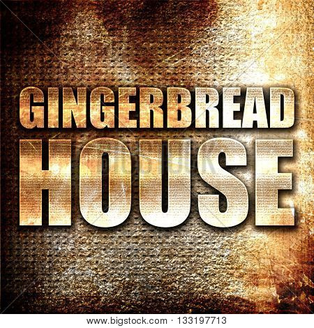 gingerbread house, 3D rendering, metal text on rust background