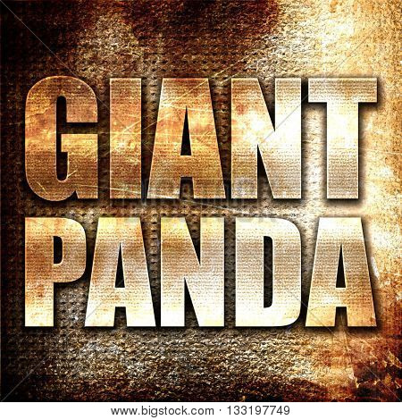 giant panda, 3D rendering, metal text on rust background
