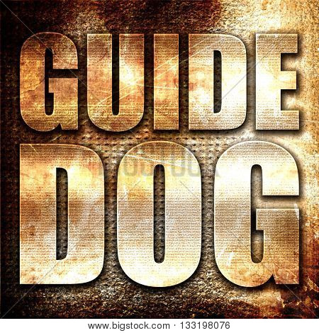 guide dog, 3D rendering, metal text on rust background
