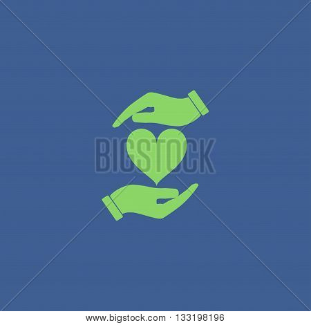 Vector icon - hands holding heart. Flat design style
