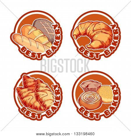 Four stickers with different bakery products.