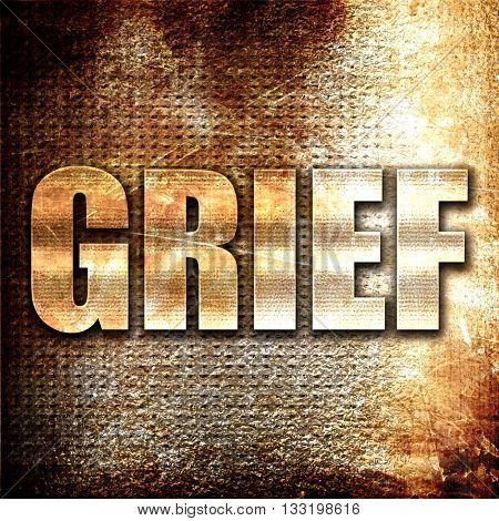 grief, 3D rendering, metal text on rust background