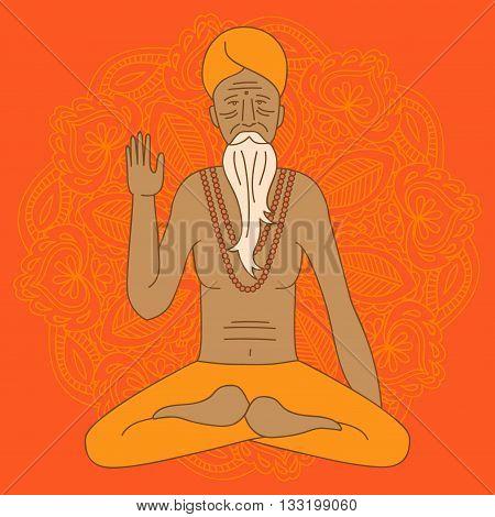 yoga meditating sadhu logo asia hinduism monk india religious guru man character mandala